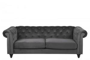 Sofa 3-osobowa Charlietown Dark Grey, tapicerowana - ciemnoszara