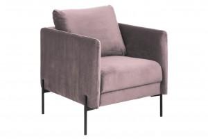 Fotel tapicerowany Kingsley, z metalowymi nogami, różowy, dł.73 x szer.82 x wys.85 cm