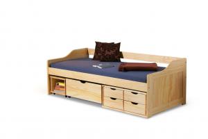 Łóżko dziecięce Maxima z drewna sosnowego w kolorze naturalnym - 200 x 90 cm