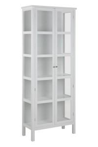 Witryna Eton Large z drewna i szkła, dł.80 x szer.35,5 x wys.210 cm - biała
